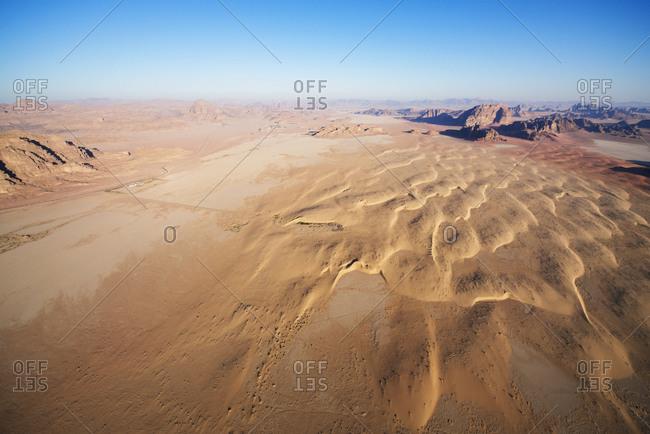 Aerial view of desert in Wadi Rum, Jordan