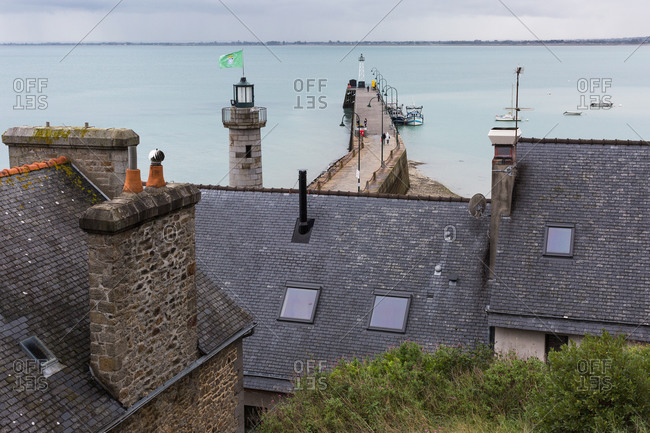 Overlooking harbor and pier, Cancale, France