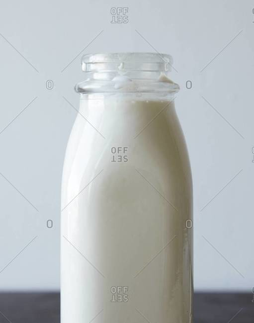 Close-up of a glass bottle of milk