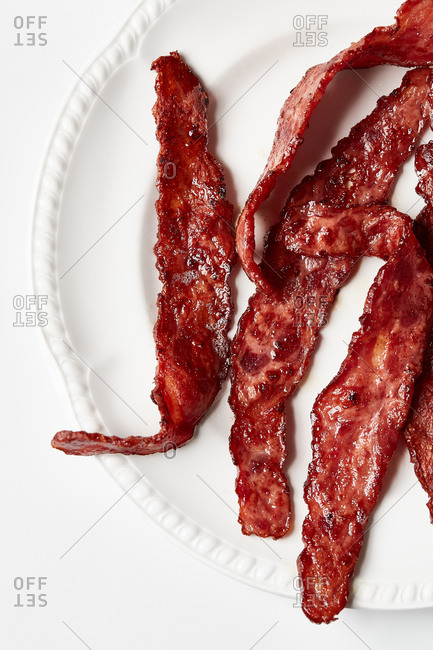 Cooked bacon on a plate