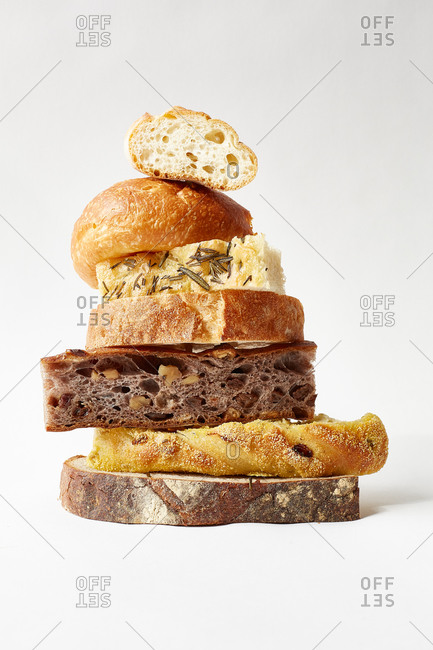Slices of various types of bread