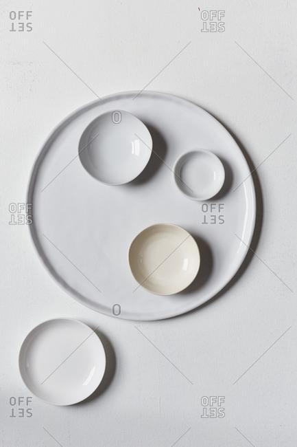 Variety of round white plates