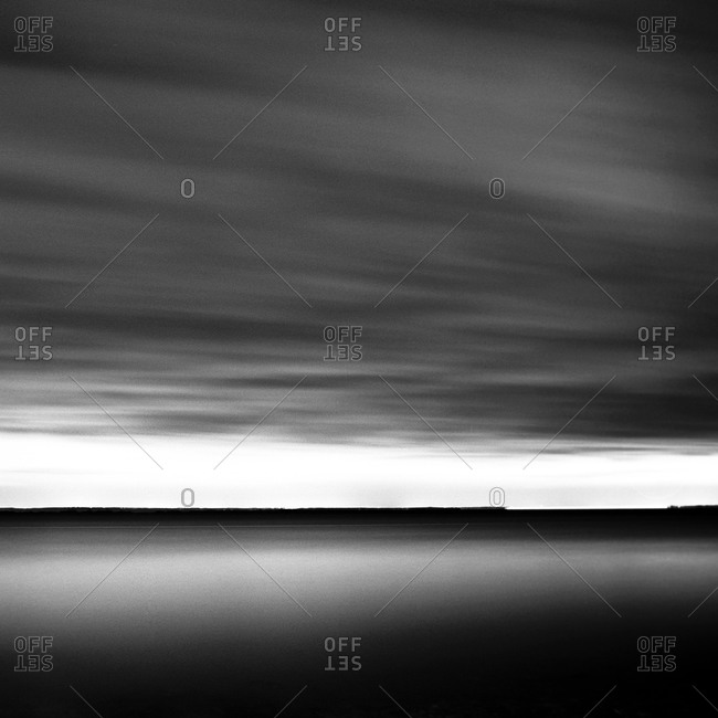 Black and white view off the coast of Connecticut, USA