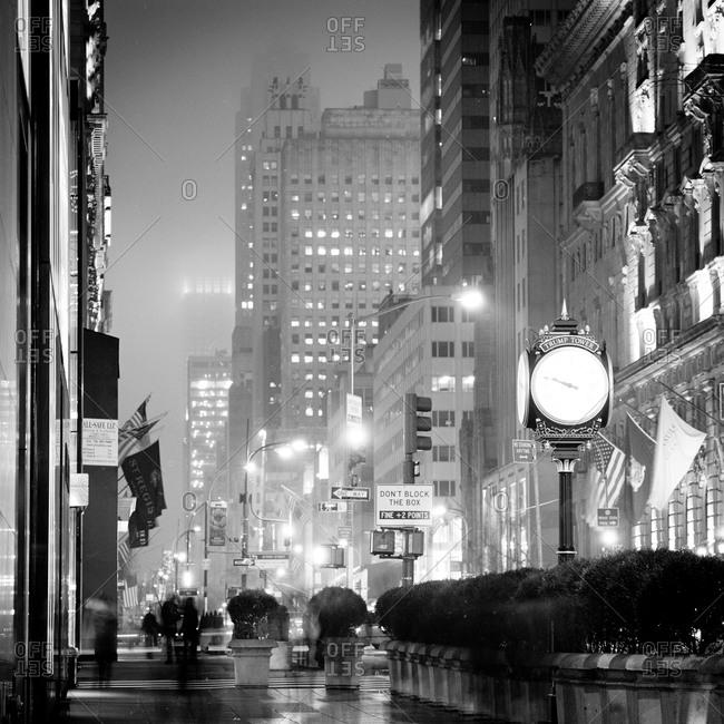 New York City - January 13, 2012: 5th Avenue on a hazy evening