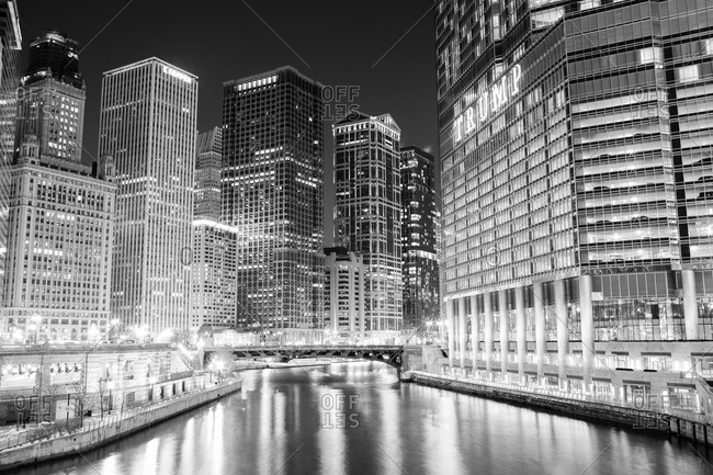 Nighttime view of the Chicago River, Chicago, Illinois