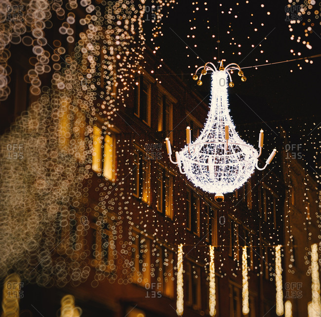Holiday light chandeliers on the streets of Malmo, Sweden