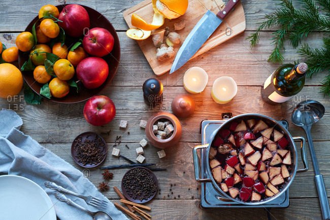 Cooking ingredients with spices and apples