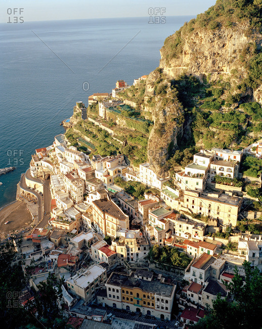Buildings of the hillside village of Positano on the Amalfi coast, Italy