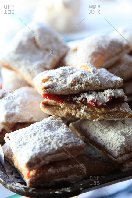 Jam filled pastry with powdered sugar