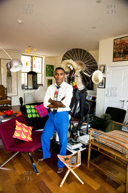 New York City - August 21, 2012: Portrait of Chef Marcus Samuelsson in his eclectic living room