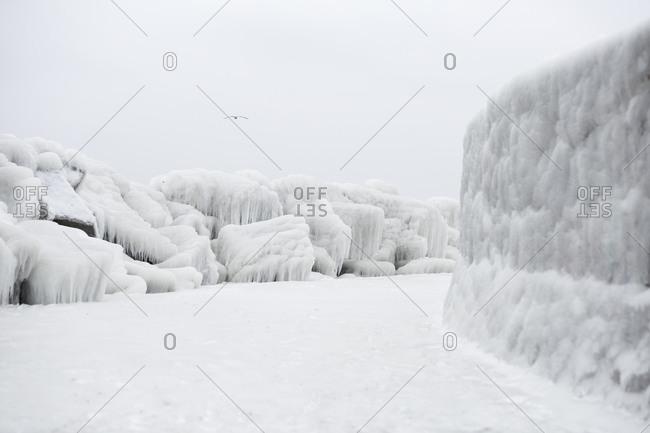 Icy pier in winter