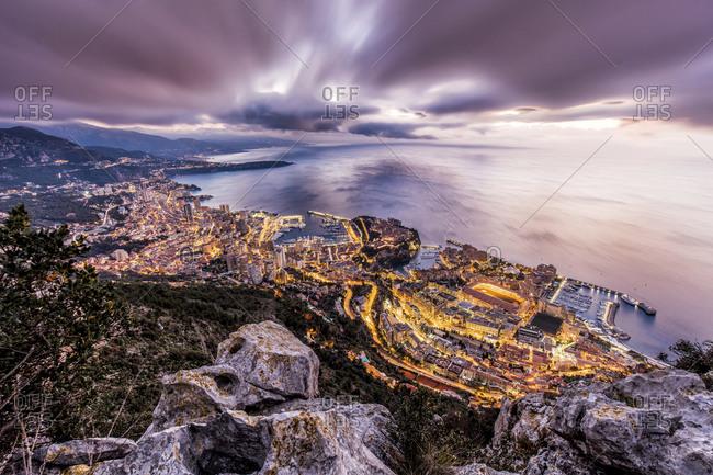 Dramatic evening sky over Monte Carlo