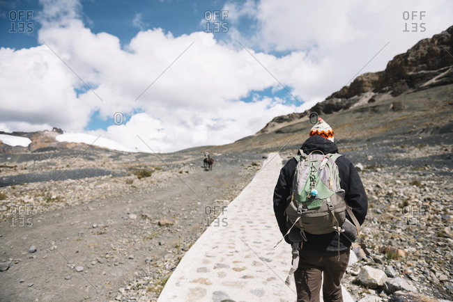 Man hiking in the Andes