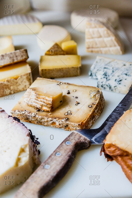 Variety of cheeses on platter