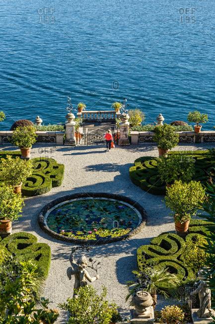 Piedmont, Italy - October 16, 2013: The Borromeo's Palace gardens, Piedmont, Italy