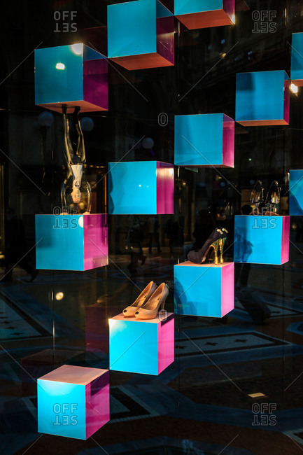 Milan, Italy - October 14, 2013: Windows in high end store, Milan, Italy