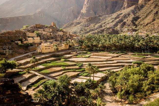 Farmland in mountains, Oman - Offset