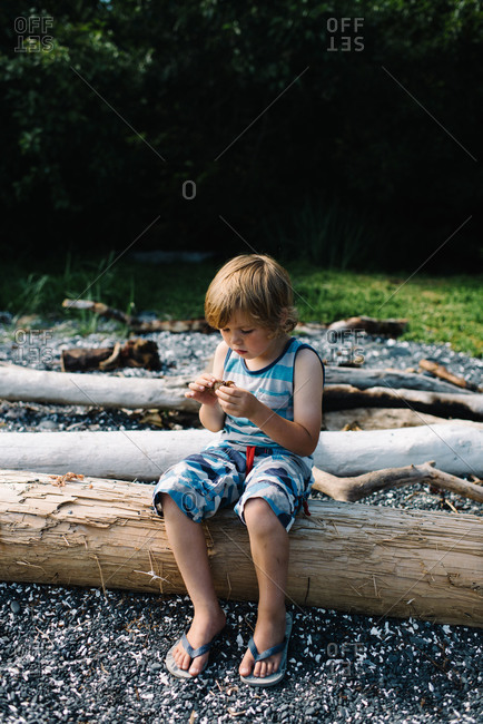 Little boy sitting on a log looking at a crab