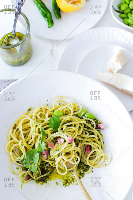 Easy pesto pasta with pancetta and fresh herbs