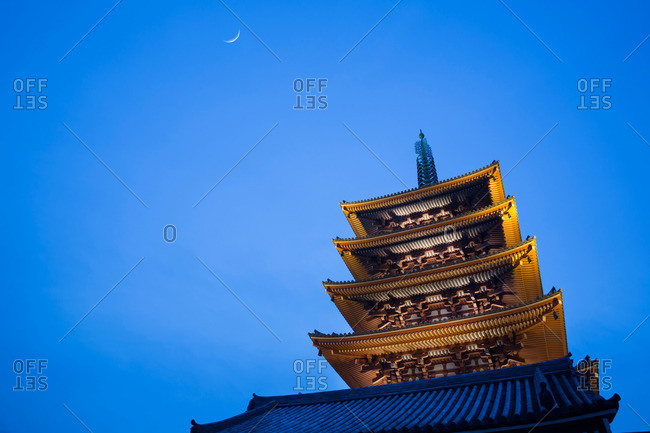Pagoda of a Buddhist temple at twilight, Tokyo