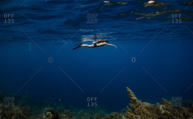 Young woman snorkeling at the surface of the ocean above a reef