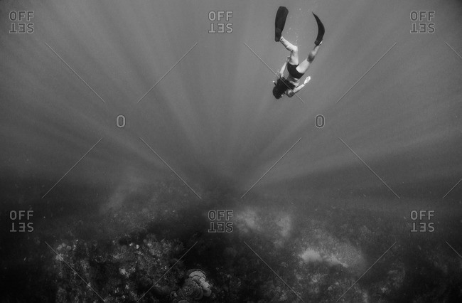Woman freediving towards a coral reef