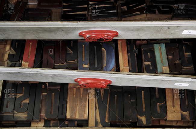 Letter stamps in a drawer