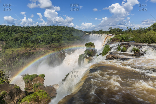 A view from the upper trail, Iguazu Falls National Park, UNESCO World Heritage Site, Misiones, Argentina