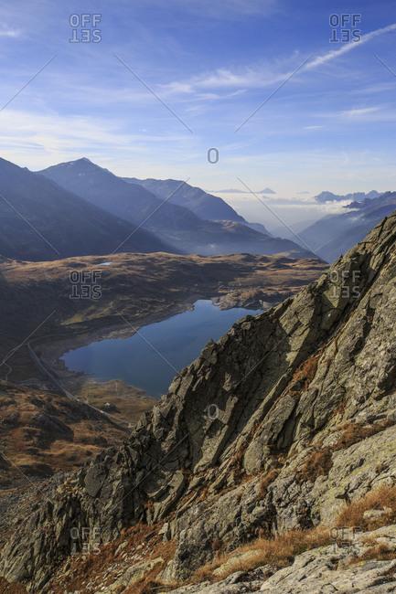 View of Lake Montespluga from Pizzo Della Casa, Chiavenna Valley, Spluga Valley, Valtellina, Lombardy, Italy