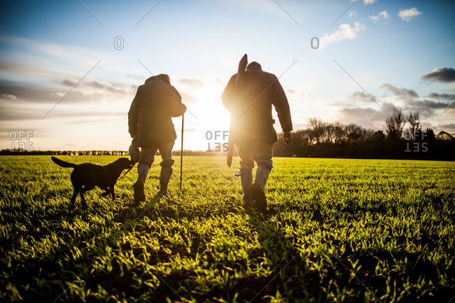Two hunters and a dog walking through a field
