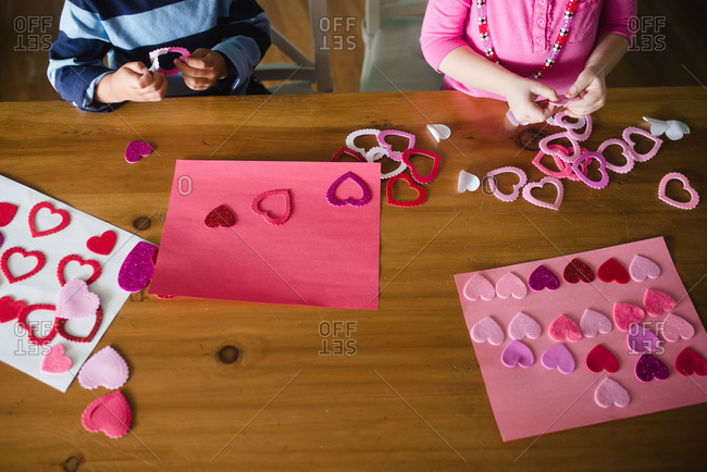 Valentine\'s Day craft being made by young children