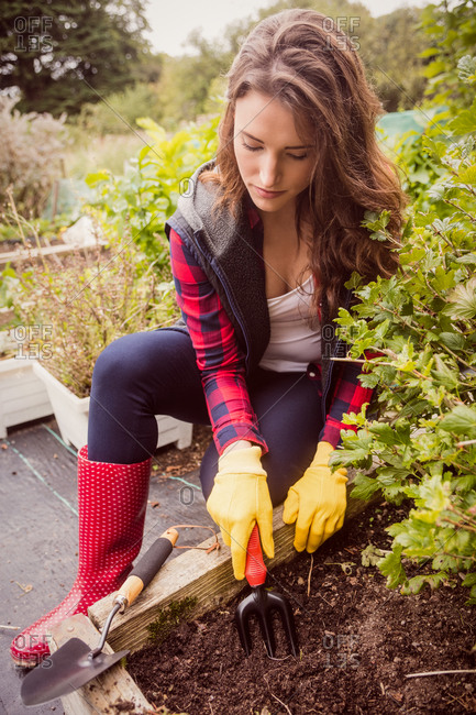 Woman gardens with a trowel in the countryside