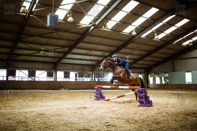 Female rider jumping barrier with horse in the countryside