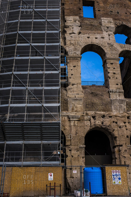 Scaffolding on the Roman Coliseum