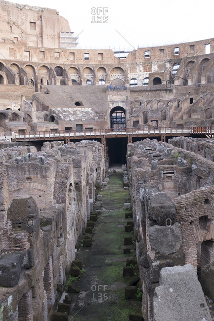 Inside the amphitheater of Roman Coliseum