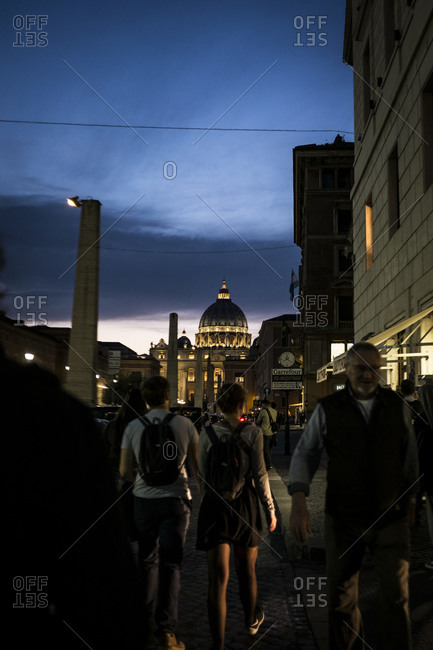 Rome, Italy - November 3, 2015: Crowds walking in evening streets