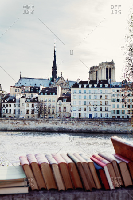 Books on a ledge and the River Seine in Paris