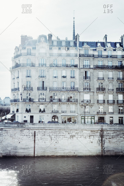 Historic buildings on the waterfront of the River Seine in Paris