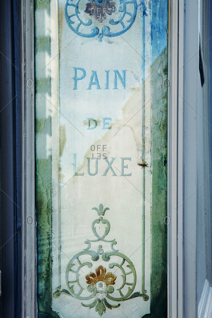 Painted window at a bakery in Paris
