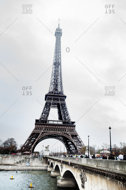 Eiffel Tower and bridge crossing the River Seine in Paris