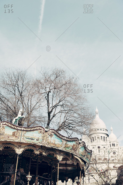 Carousel and basilica at Montmartre in Paris