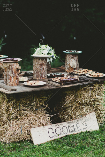 Goodies table at a country wedding