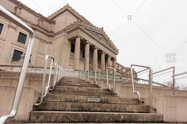 Low angle view of steps outside the Brooklyn Museum on Eastern Parkway