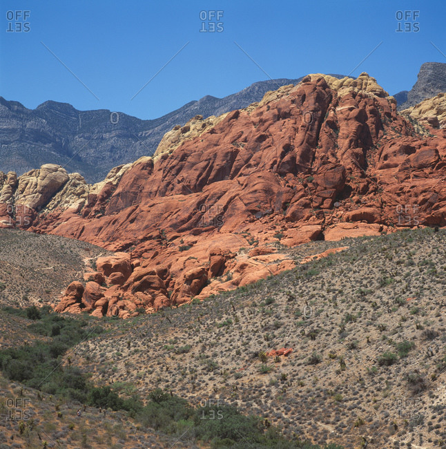 Sandstone rocks against mountain landscape, Red Rock Canyon, Nevada