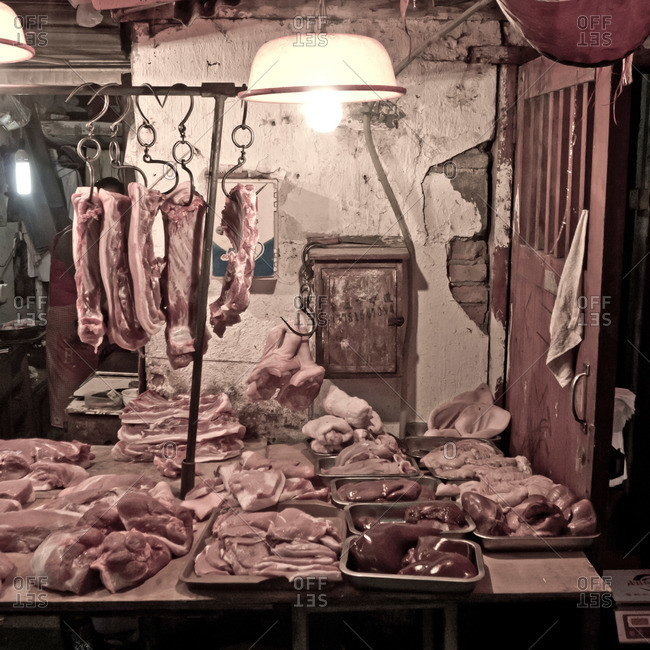 Meat in a Chinese butcher shop
