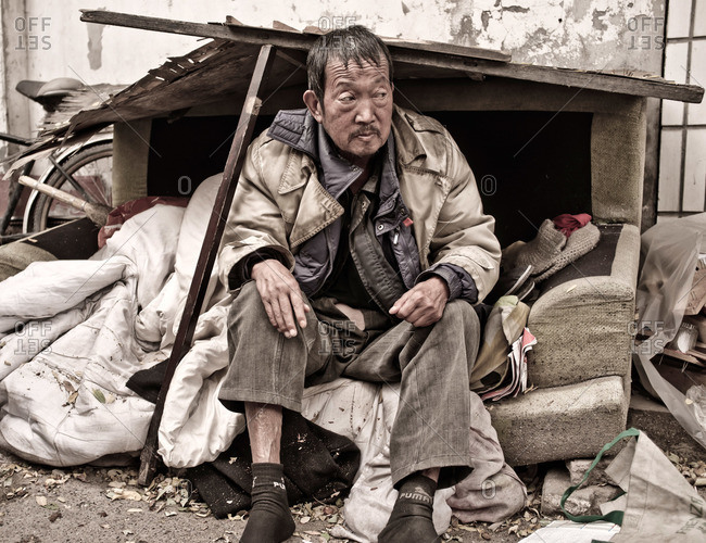 Homeless man in China