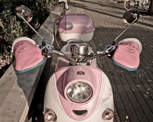 A pink motor scooter in China
