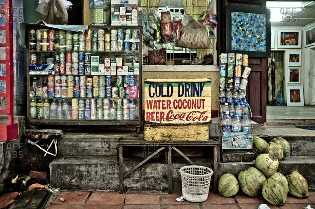 Hanoi, Vietnam - September 30, 2011: Exterior of convenience store, Vietnam