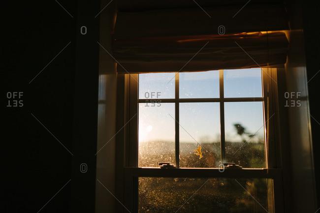 Sun shining on a dirty window