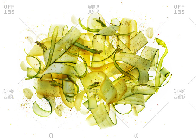 Summer salad with shaved zucchini and yellow squash
